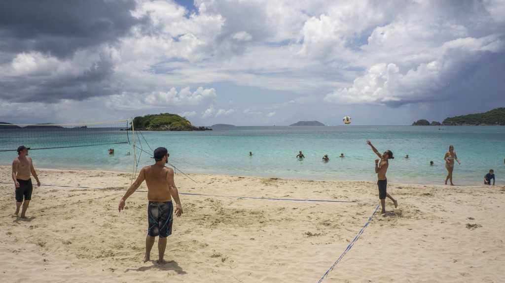 St. John locals gather to play pickup volleyball every weekend on Cinnamon Bay beach.
