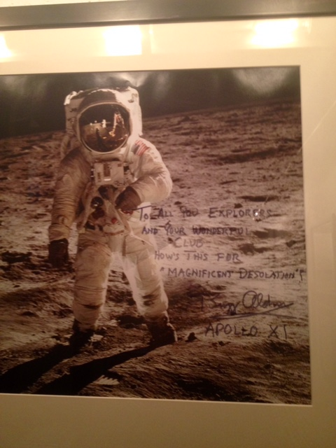 Buzz Aldren's picture in the halls of the Explorer's Club.