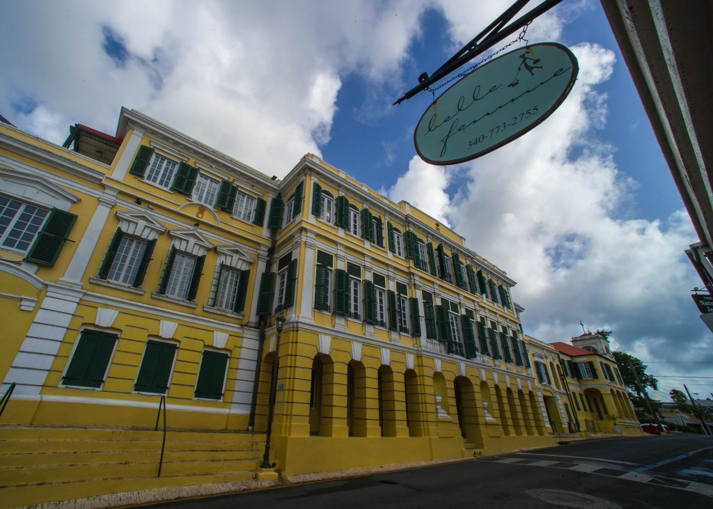 Denmark owned the US Virgin Islands until 1916 and much of that colonial architecture still exists in varying conditions. Here is a beautiful colonial building in downtown Christiansted.