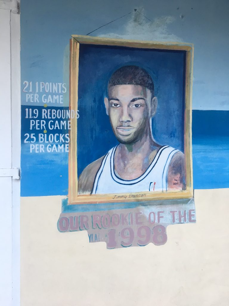 NBA legend Tim Duncan is perhaps the most famous Crucian of all time. Needless to say, Crucians are very proud of him. He's the first thing you see upon landing in the airport and tributes like this are found throughout the island.